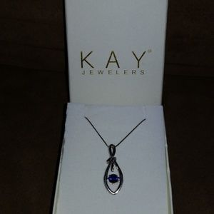 Sterling silver necklace w/blue stone pendant